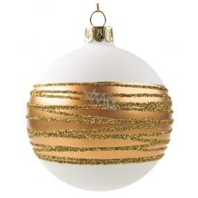 Banky sklenené biele so zlatým pruhom sada 8 cm, 6 kusov
