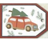 Nekupto Vianočné kartičky na darčeky auto s vetvou 5,5 x 7,5 cm 6 kusov