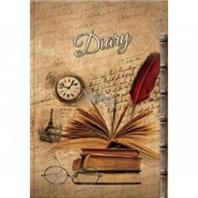 Ditipo Denník Nostalgie knižky, okuliare, hodinky B5 17 x 24 cm