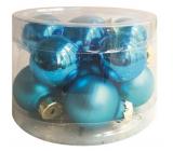 Banky sklenené modrá sada 2,5 cm, 12 kusov