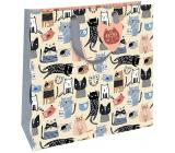 Nekupto Darčeková papierová taška luxusné 32,5 x 32,5 x 14 cm Farebné mačky 2036 L - LIL