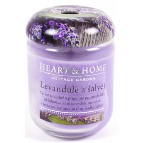 Heart & Home Levandule a šalvěj Sojová vonná svíčka střední hoří až 30 hodin 110 g
