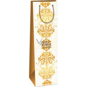 Ditipo Darčeková papierová taška na fľašu 12,3 x 7,8 x 36,2 cm béžová hnedý vzor