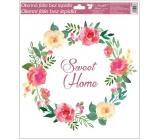 Okenné fólie bez lepidla venček Sweet Home 33 x 30 cm