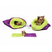 Marys pelech - vrece 3v1 je určený pre šteniatko, mačiatko, hlodavce alebo fretku mini 38 x 80 cm fialová / sv.zelená