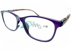 Berkeley Čítacie dioptrické okuliare +1 plast fialovej, farebné bočnice 1 kus MC2193