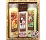 Bohemia Gifts & Cosmetics Alfons Mucha Med a obilia krémový sprchový gél 200 ml + toaletné mydlo s glycerínom s extraktmi z listov olív a citrusu 125 g + oliva a citrusy krémový sprchový gél 200 ml, kozmetická sada