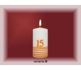 Lima Jubilejní 15 let svíčka bílá zdobená 50 x 100 mm 1 kus