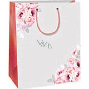 Ditipo Darčeková papierová taška 26,4 x 13,6 x 32,7 cm šedá pruhy kvet DAB