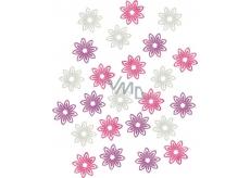 Kvety drevené fialová, biela, ružová 2 cm 24 kusov