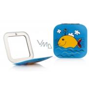 Diva & Nice Zrkadielko dvojité klasické a zväčšovacie štvorcové Modré so žltou veľrybou 6,8 x 6,8 cm