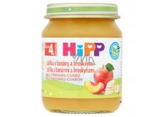 HiPP Ovocie Bio Jablká s banánmi a broskyňami ovocný príkrm, znížený obsah laktózy a bez pridaného cukru pre deti 125 g