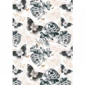 Ditipo Darčekový baliaci papier 70 x 100 cm Biely s motýlikmi 2 archy