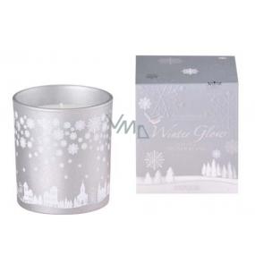 Arome Winter Glow Snowy Wonderland sviečka vonná sklo strieborná v darčekovej škatuľke 80 x 90 mm 500 g