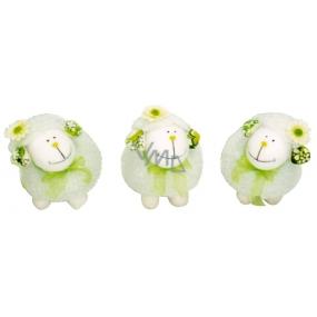 Ovečka biela so zelenou mašličkou 13 x 11 cm