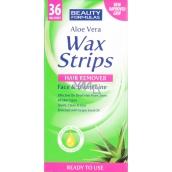 Beauty Formulas Aloe Vera Wax Strips depilačné pásiky na tvár a oblasť bikín 36 kusov