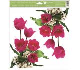 Room Decor Okenné fólie bez lepidla rohová Tulipány ružové s glitrami 30 x 33,5 cm