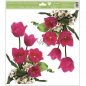 Okenné fólie bez lepidla rohová Tulipány ružové s glitrami 30 x 33,5 cm