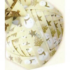 Nekupto Klubíčko Luxus béžovej, snehuliak, hviezdy, stromčeky 1 cm x 10 m KB 217 01
