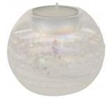 Svietnik sklenený s glitrami priemer 8 cm