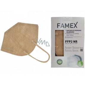 Famex Respirátor ústnej ochranný 5-vrstvový FFP2 tvárová maska béžová 10 kusov