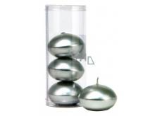 Svíčka plovoucí metal stříbrná v tubusu 50 x 120 mm 4 kusy