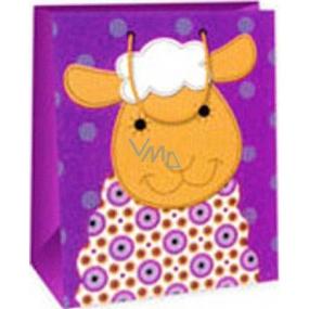 Ditipo Darčeková papierová taška 26,4 x 13,7 x 32,4 cm tmavo ružová ovečka AB