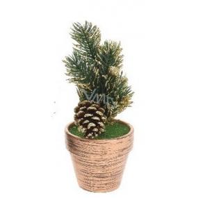 Dekorácie Vianočný stromček v kvetináči zlatý 17 x 6,5 x 6,5 cm