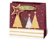 BSB Luxusná darčeková papierová taška 14,5 x 15 x 6 cm Vianočné sa stromčeky VDT 439-CD