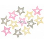 Hviezda drevená ružovo-žlto-sivá 4 cm 12 kusov