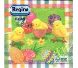 Regina Papierové obrúsky 1 vrstvové 33 x 33 cm 20 kusov Veľkonočné zelené s kuriatkami a vajíčkami