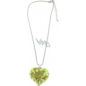 Bižutéria Náhrdelník strieborný so skleneným zeleným srdcom 40 cm