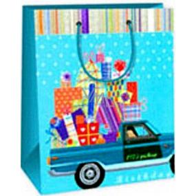 Ditipo Darčeková papierová taška 18 x 10 x 22,7 cm modrá auto s darčekmi