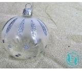 Irisa Banky sklenené priehľadné, strieborne zdobené - bodky, sada 7 cm 12 kusov