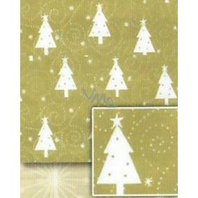 Nekupto Baliaci papier vianočný Zlatý, biele stromčeky 0,7 x 5 m