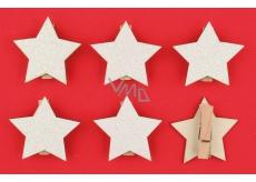 Drevené bielej hviezdy s glitrami, na kolíčku 4,5 cm 6 kusov