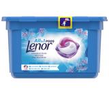 Lenor All in1 Pods Spring Awakening vôňa jarných kvetín, pačuli a cédru gélové kapsule na pranie bielej bielizne 13 kusov