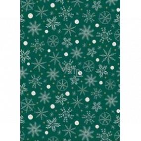 Ditipo Darčekový baliaci papier 70 x 200 cm Vianočný zelený bielo-zlatej vločky