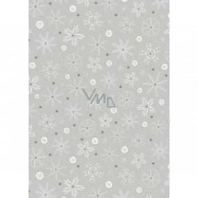 Ditipo Darčekový baliaci papier 70 x 200 cm Vianočné strieborný bielo-zlatej vločky