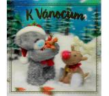 Me to You Blahoželania do obálky 3D Prianie k Vianociam, Medvedík sa sobom 15,5 x 15,5 cm