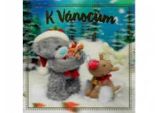 Albi Blahoželanie do obálky 3D K Vianociam s medvedíkom Me To You 15 x 15 cm