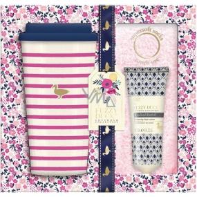 Baylis & Harding Lesné zvonček a Kvetinová lúka cestovný hrnček + supermäkké ružové ponožky + mlieko na nohy 50 ml, kozmetická sada