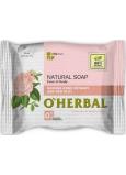 O Herbal Natural Damašková ruže a červená hlina prírodné toaletné mydlo 100 g
