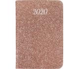 Albi Diár 2020 mini Ružové trblietky 11 x 7,5 x 1 cm
