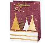 BSB Luxusný Vianočný darčeková papierová taška veľká vínová sa stromčeky 36 x 26 x 14 cm VDT 439-A4