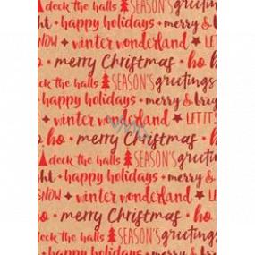 Ditipo Darčekový baliaci papier 70 x 200 cm Vianočný KRAFT červené nápisy