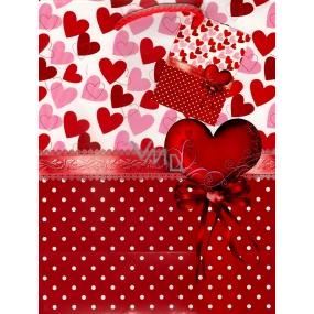Nekupto Dárková papírová taška střední 23 x 18 x 10 cm Srdce a puntíky 1 kus 820 30 BM