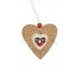Dekorace z juty na pověšení 10 cm Srdce