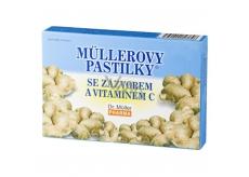 Müllerove pastilky so zázvorom a vitamínom C pri prechladnutí, žalúdočných ťažkostiach pre nevoľnosti pri cestovaní 12 kusov
