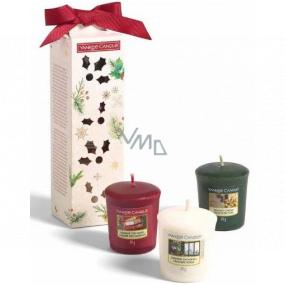 Yankee Candle Magical Christmas Morning Singing Carols - Spievanie kolied + Holiday Hearth - Sviatočné krb + Surprise Snowfall - Snehové prekvapenie vonná sviečka votívny 3 x 49 g, vianočné darčeková sada